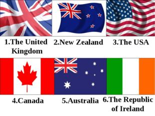 5.Australia 1.The United Kingdom 2.New Zealand 3.The USA 4.Canada 6.The Repub