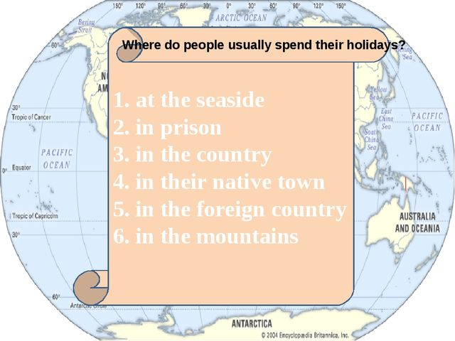 1. at the seaside 2. in prison 3. in the country 4. in their native town 5....