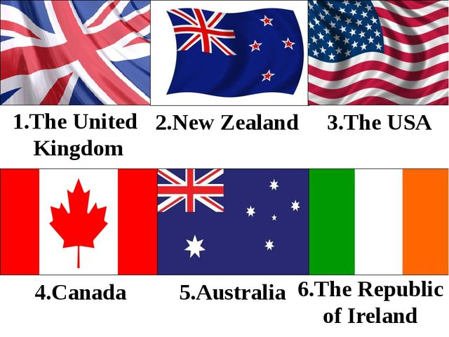 5.Australia 1.The United Kingdom 2.New Zealand 3.The USA 4.Canada 6.The Repub...