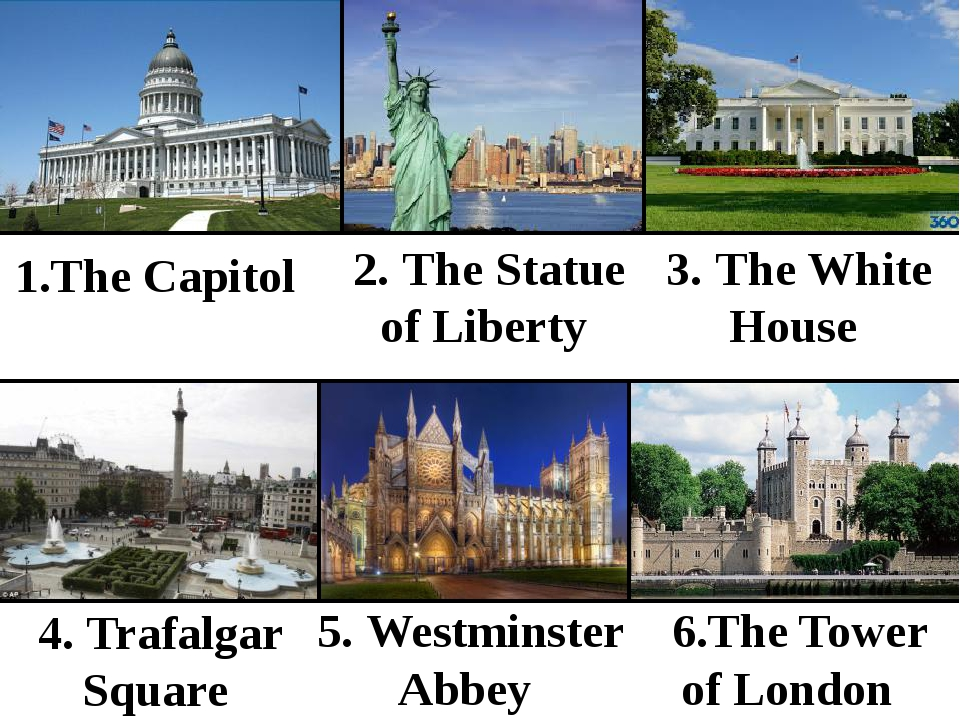 1.The Capitol 2. The Statue of Liberty 3. The White House 4. Trafalgar Squar...