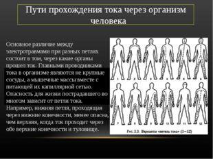 Пути прохождения тока через организм человека Основное различие между электро
