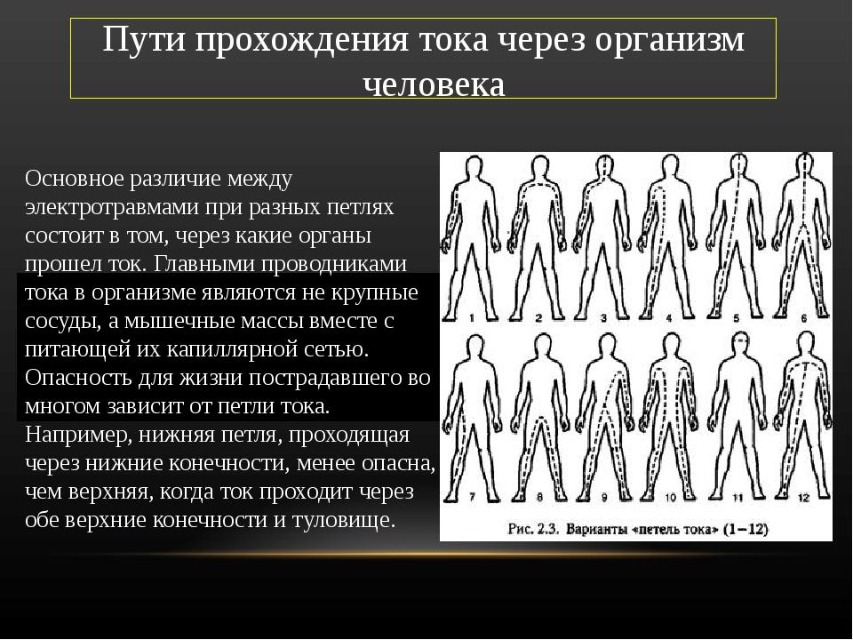 Пути прохождения тока через организм человека Основное различие между электро...