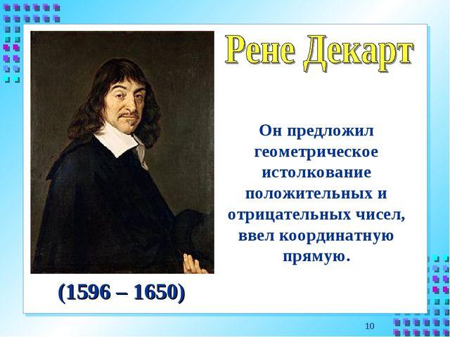 * Он предложил геометрическое истолкование положительных и отрицательных чисе...