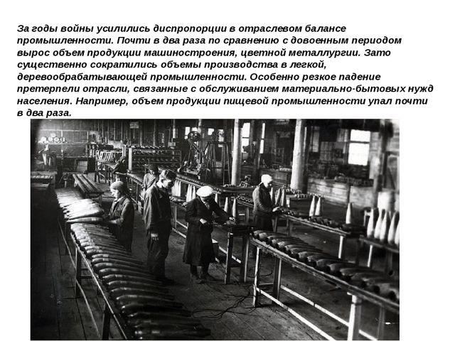 Загоды войны усилились диспропорции вотраслевом балансе промышленности. Поч...
