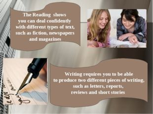 The Reading shows you can deal confidently with different types of text, such