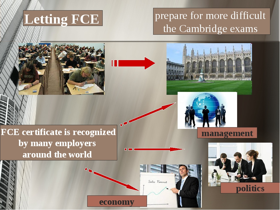 Letting FCE prepare for more difficult the Cambridge exams FCE certificate is...