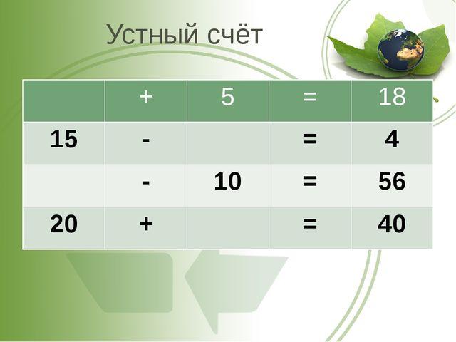 Устный счёт + 5 = 18 15 - = 4 - 10 = 56 20 + = 40