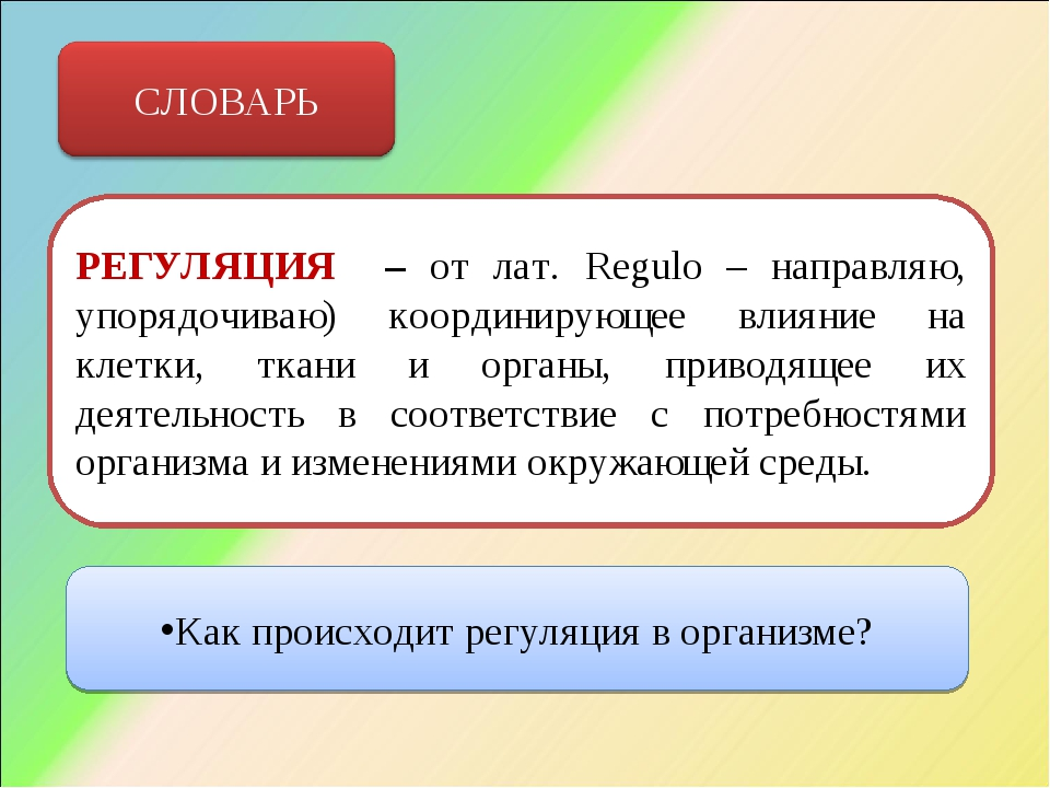 РЕГУЛЯЦИЯ – от лат. Regulo – направляю, упорядочиваю) координирующее влияние...