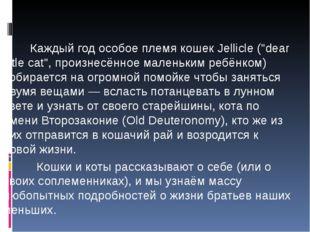 В итоге у них родился следующий сюжет: Каждый год особое племя кошек Jellicl