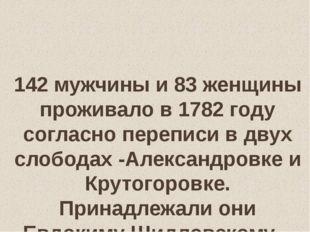 142 мужчины и 83 женщины проживало в 1782 году согласно переписи в двух слоб
