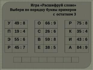 У49 : 8О66 : 9Р75 : 8 П19 : 4С26 : 6К35 : 4 Э55 : 6В59 : 8