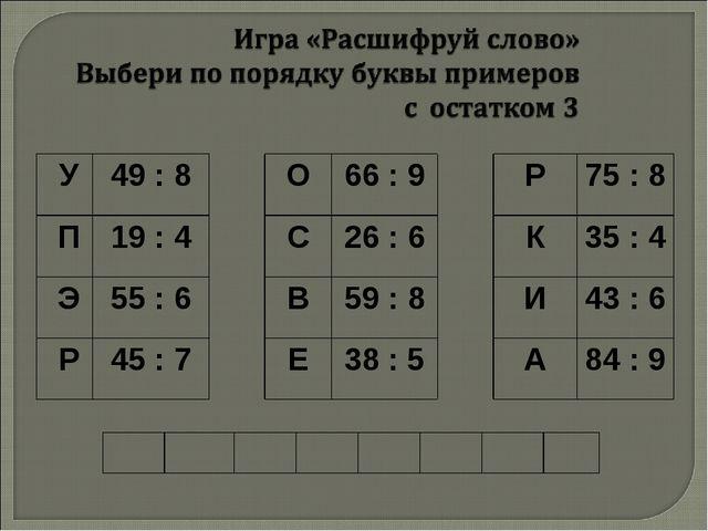 У49 : 8О66 : 9Р75 : 8 П19 : 4С26 : 6К35 : 4 Э55 : 6В59 : 8...