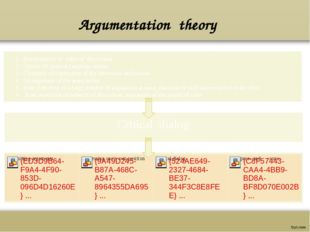 Argumentation theory 1. Development of rules of discussion. 2 . Choice of gen