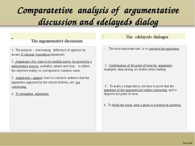 Comparatetive analysis of argumentative discussion and «delayed» dialog The a...