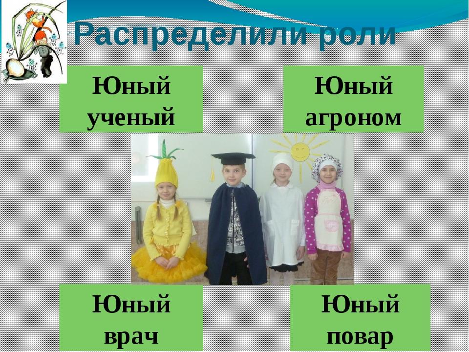 Распределили роли Юный ученый Юный повар Юный врач Юный агроном