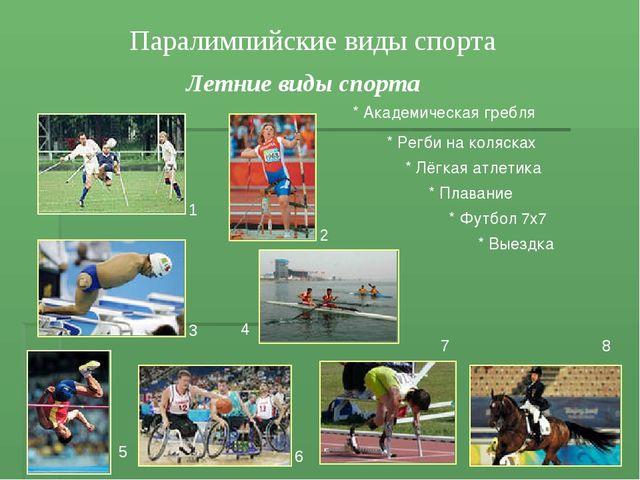 Паралимпийские виды спорта Летние виды спорта * Плавание * Академическая греб...