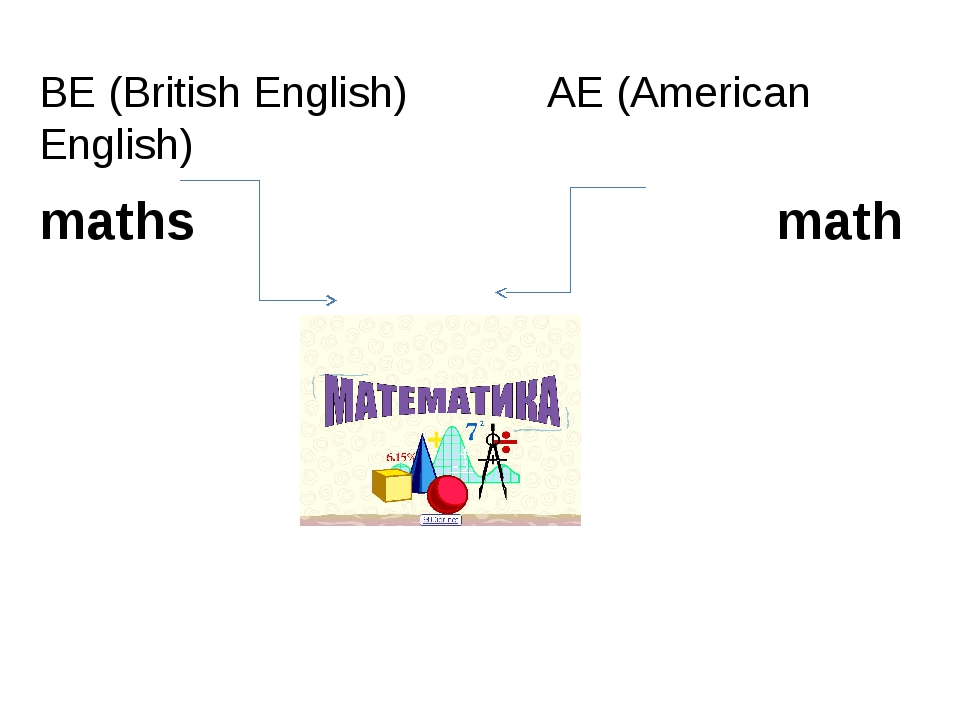 BE (British English) AE (American English) maths math