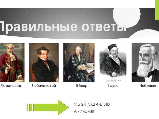 Правильные ответы 1)Б 2)Г 3)Д 4)Е 5)В А - лишний Ломоносов Лобачевский Эйлер...