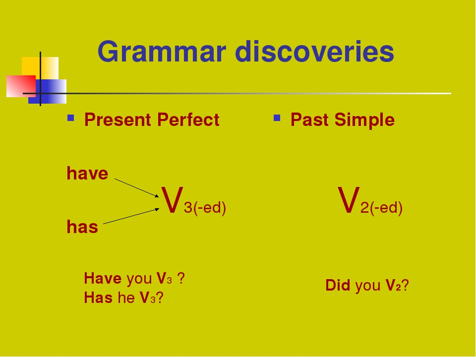 Grammar discoveries Present Perfect have has Past Simple V3(-ed) V2(-ed) Hav...