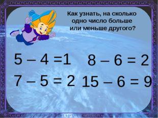 5 – 4 =1 15 – 6 = 9 7 – 5 = 2 8 – 6 = 2 Как узнать, на сколько одно число бол