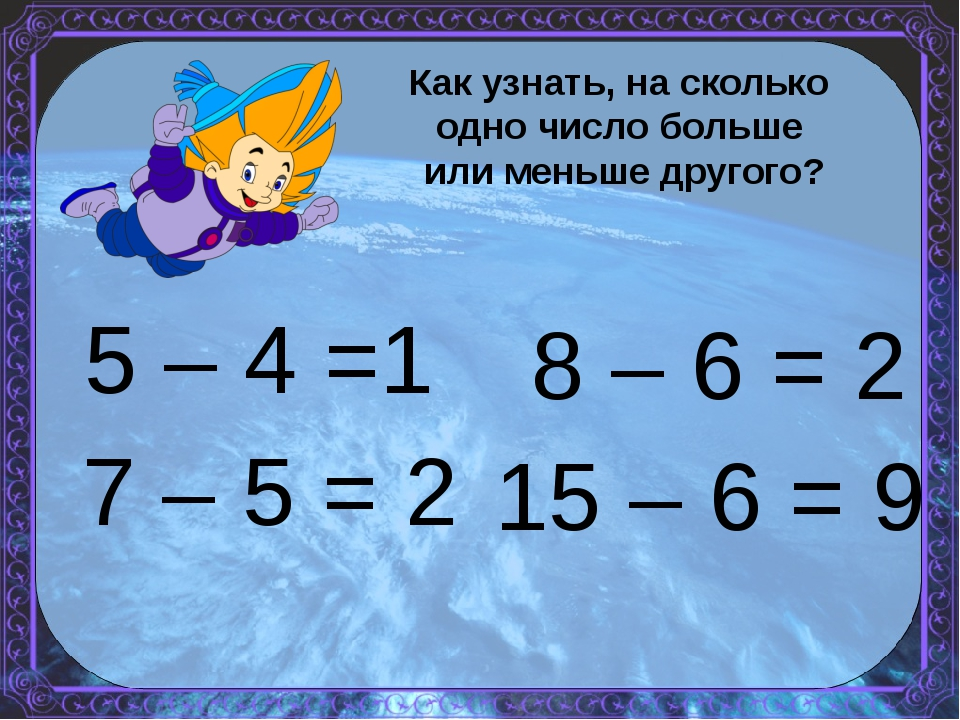 5 – 4 =1 15 – 6 = 9 7 – 5 = 2 8 – 6 = 2 Как узнать, на сколько одно число бол...