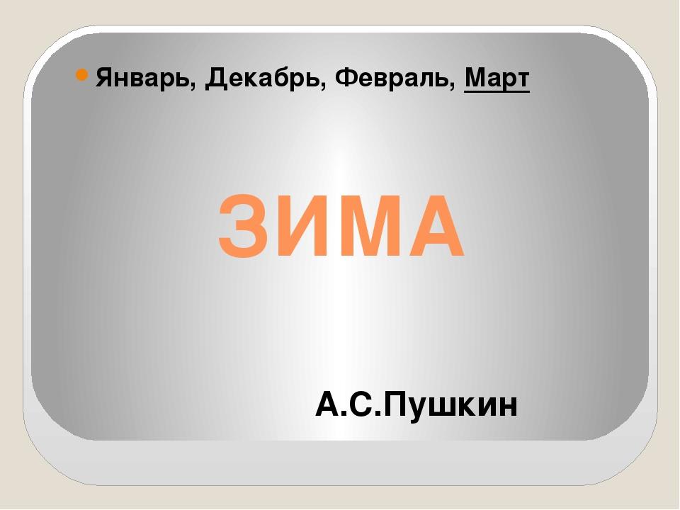 ЗИМА Январь, Декабрь, Февраль, Март А.С.Пушкин