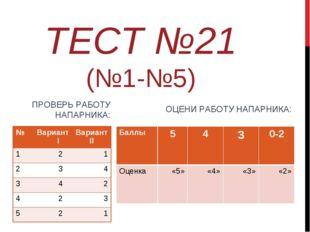 ТЕСТ №21 (№1-№5) ПРОВЕРЬ РАБОТУ НАПАРНИКА: ОЦЕНИ РАБОТУ НАПАРНИКА: №Вариант