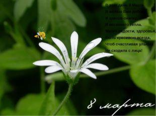 В этот день 8 Марта Я желаю Вам добра, И цветов охапку, И весеннего тепла. Мн