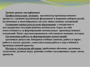 Третий уровень квалификации Профессиональная позиция: организатор производств