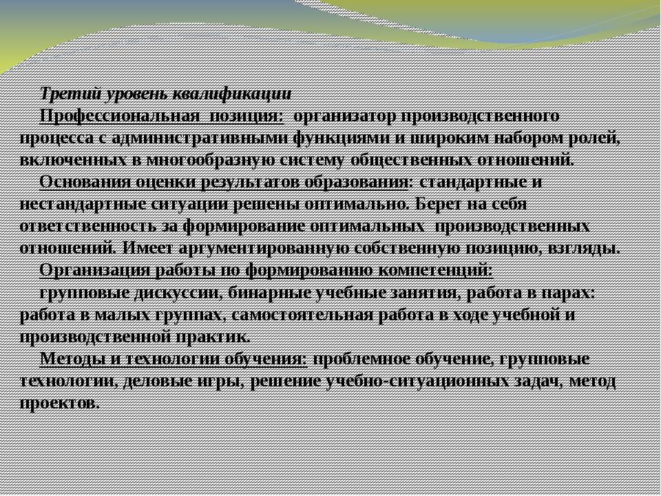 Третий уровень квалификации Профессиональная позиция: организатор производств...