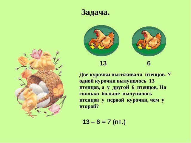 Задача. Две курочки высиживали птенцов. У одной курочки вылупилось 13 птенцов...