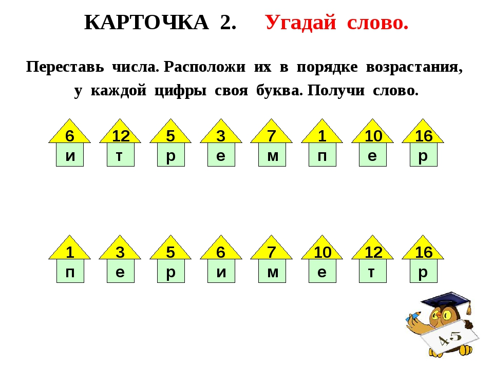 КАРТОЧКА 2. Угадай слово. Переставь числа. Расположи их в порядке возрастания...