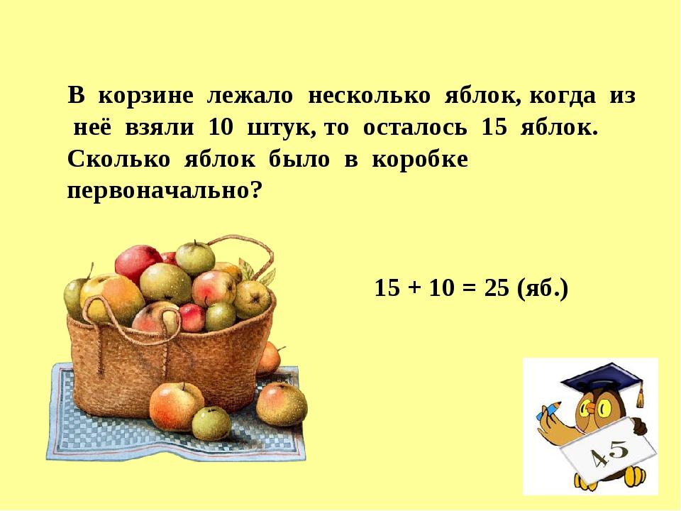 В корзине лежало несколько яблок, когда из неё взяли 10 штук, то осталось 15...