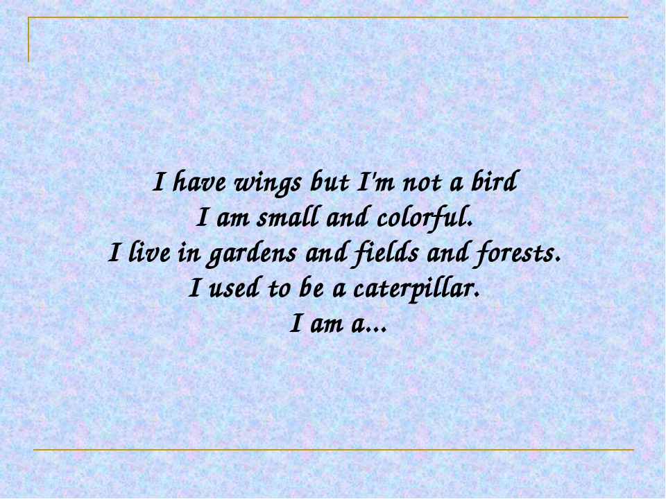 I have wings but I'm not a bird I am small and colorful. I live in gardens a...