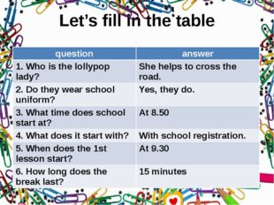 Let's fill in the table question answer 1. Who is the lollypop lady? She help