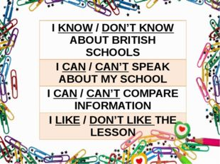 IKNOW/DON'T KNOWABOUT BRITISH SCHOOLS ICAN/CAN'TSPEAK ABOUT MY SCHOOL ICAN/CA
