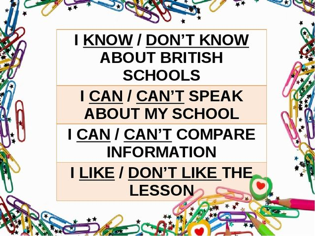 IKNOW/DON'T KNOWABOUT BRITISH SCHOOLS ICAN/CAN'TSPEAK ABOUT MY SCHOOL ICAN/CA...