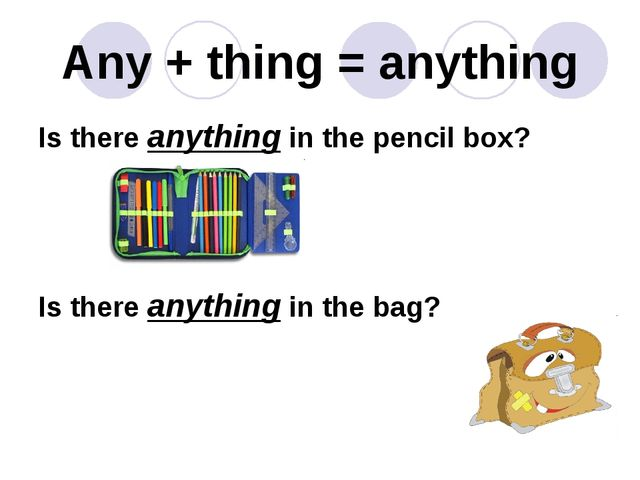 Any + thing = anything Is there anything in the pencil box? Is there anything...