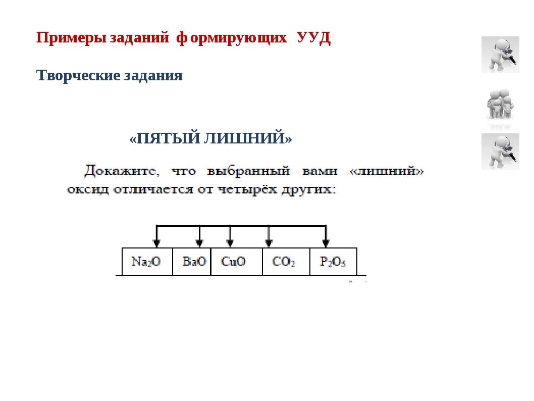 Примеры заданий формирующих УУД Творческие задания «ПЯТЫЙ ЛИШНИЙ»