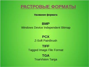 РАСТРОВЫЕ ФОРМАТЫ Название формата BMP Windows Device Independent Bitmap PCX