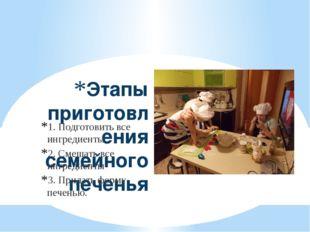 Этапы приготовления семейного печенья 1. Подготовить все ингредиенты 2. Смеша