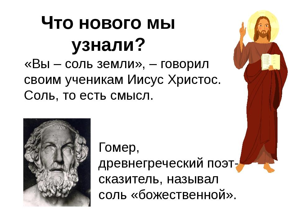 «Вы –соль земли», –говорил своим ученикам Иисус Христос. Соль, то есть смыс...