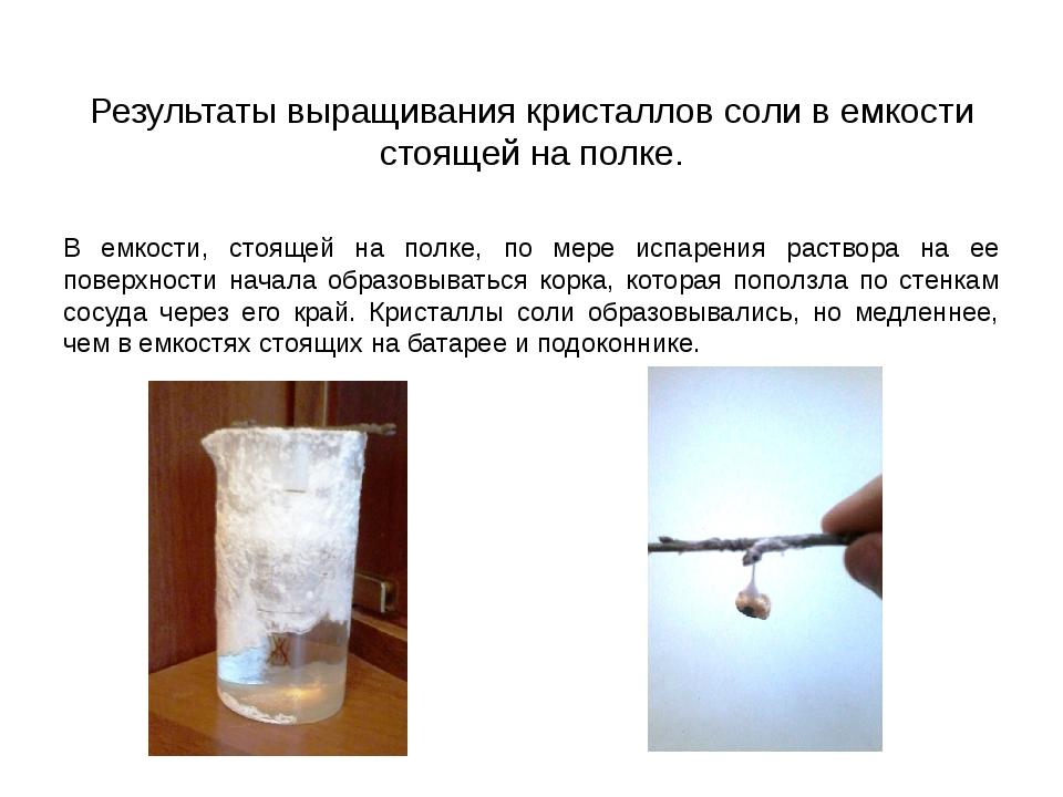 Результаты выращивания кристаллов соли в емкости стоящей на полке. В емкости,...