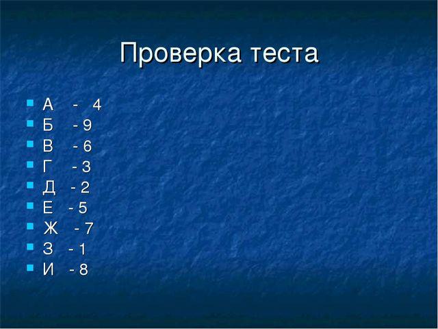 Проверка теста А - 4 Б - 9 В - 6 Г - 3 Д - 2 Е - 5 Ж - 7 З - 1 И - 8