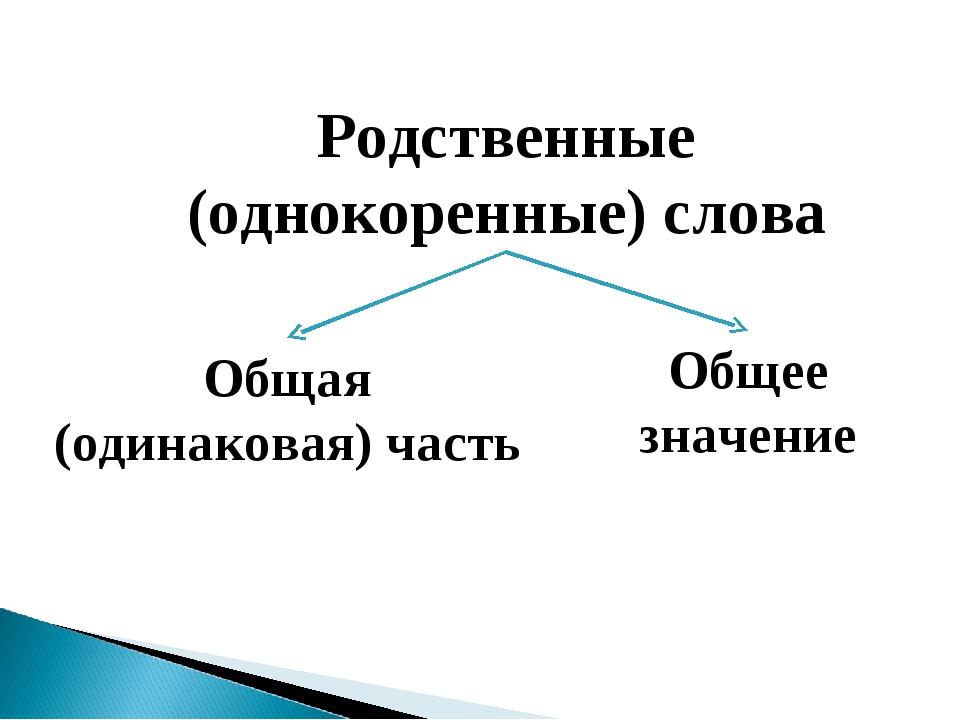 Родственные (однокоренные) слова Общая (одинаковая) часть Общее значение