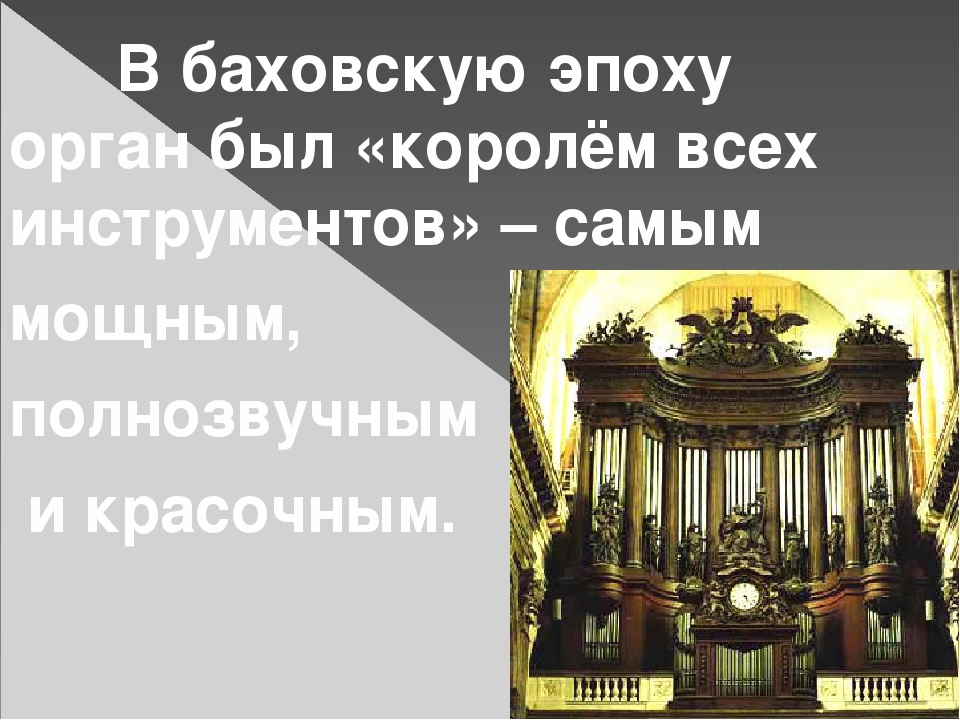 В баховскую эпоху орган был «королём всех инструментов» – самым мощным, полн...
