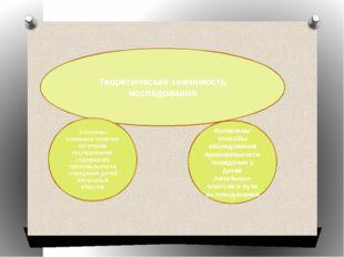 Теоретическая значимость исследования Уточнены основные понятия, категории и