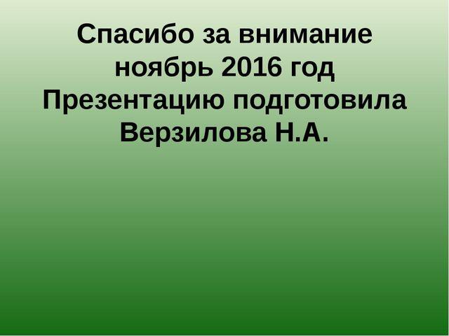 Спасибо за внимание ноябрь 2016 год Презентацию подготовила Верзилова Н.А.