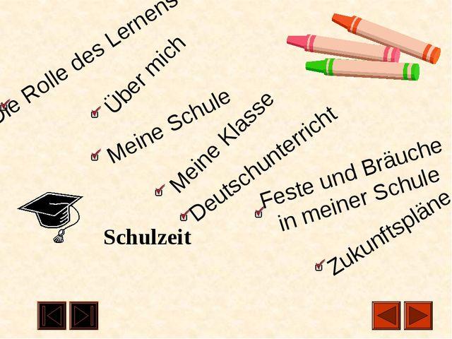 Schulzeit Die Rolle des Lernens Über mich Meine Schule Meine Klasse Deutschu...