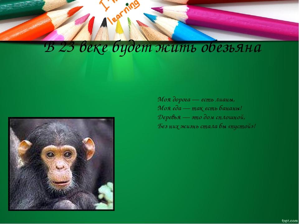 В 23 веке будет жить обезьяна Моя дорога — есть лианы, Моя еда — так есть бан...